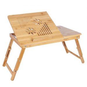 Mesa auxiliar de bambú para sofá